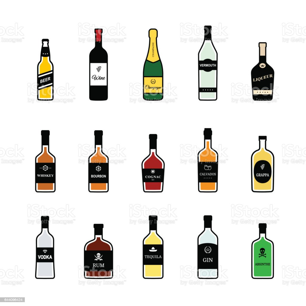 Bottles of alcoholic beverages. Vector colorful icons set vector art illustration