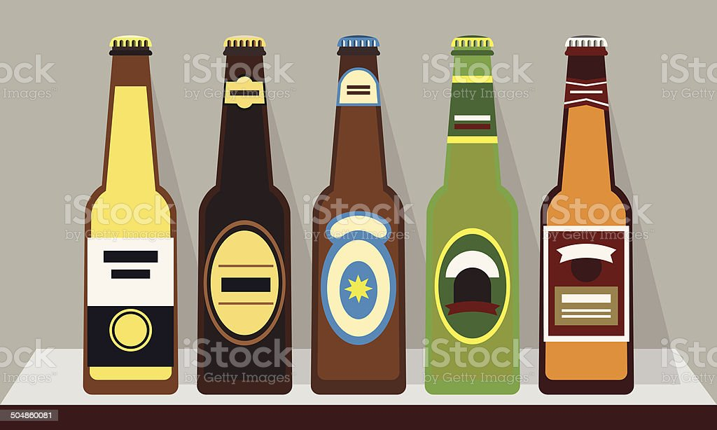 Bottles of beer with caps on shelf, Set 1-flat design vector art illustration