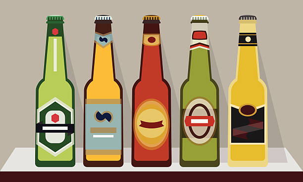 Bottles of beer with caps on shelf, Set 2 vector art illustration