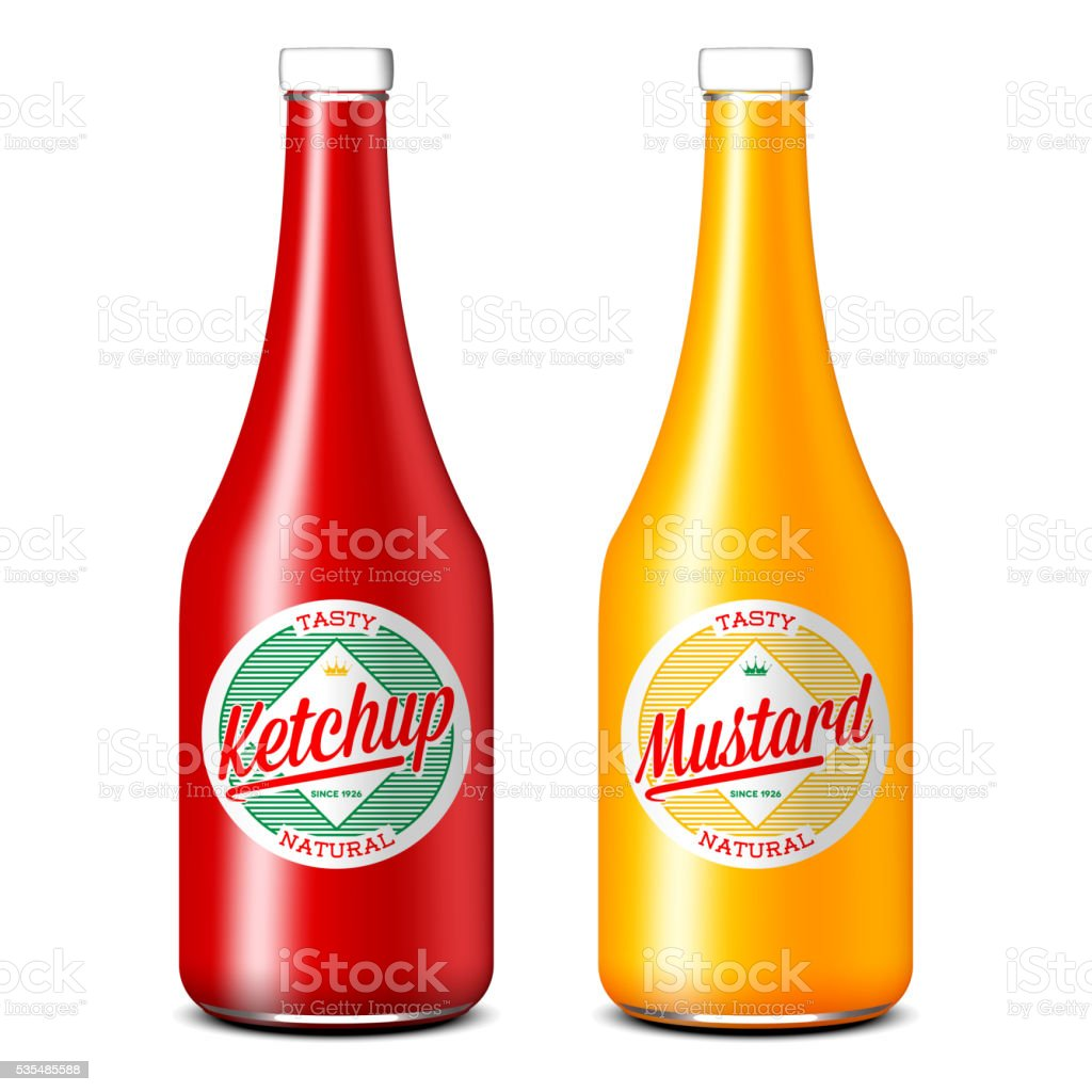 Bottles of ketchup and mustard vector art illustration