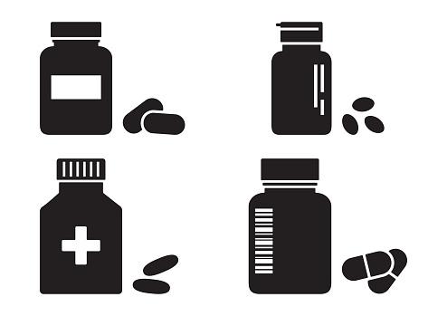 Bottles of pills or vitamins, pharmacy concept, medicine black icons. Vector