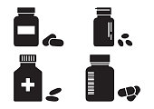Bottles of pills or vitamins, pharmacy concept, medicine black icons. Vector illustration