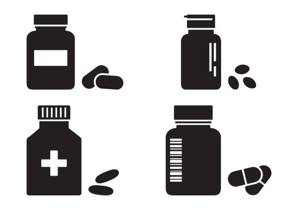 Bottles of pills or vitamins, pharmacy concept, medicine black icons. Vector Bottles of pills or vitamins, pharmacy concept, medicine black icons. Vector illustration aspirin stock illustrations