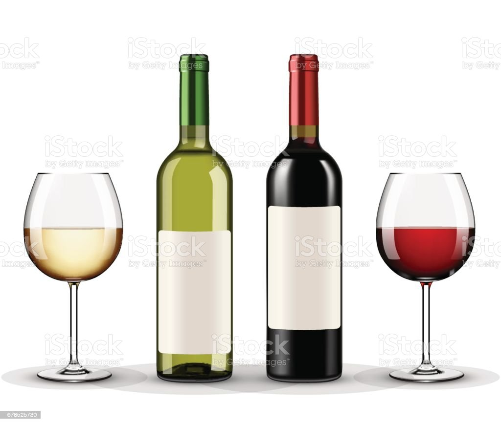 bottles of red and white wine and glasses wine isolated on white background vector art illustration