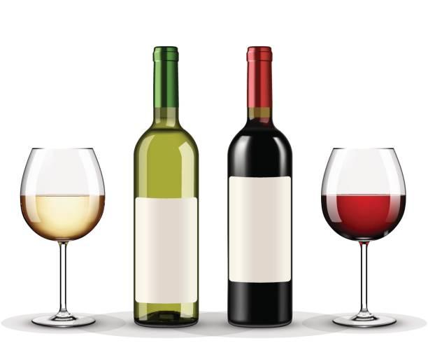 赤・白ワイン グラス ワイン白い背景で隔離のボトル - マスカット イラスト点のイラスト素材/クリップアート素材/マンガ素材/アイコン素材