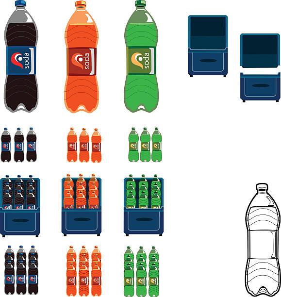 illustrazioni stock, clip art, cartoni animati e icone di tendenza di bottles of soda cola orange juice lime and lemon flavors - bottle soft drink