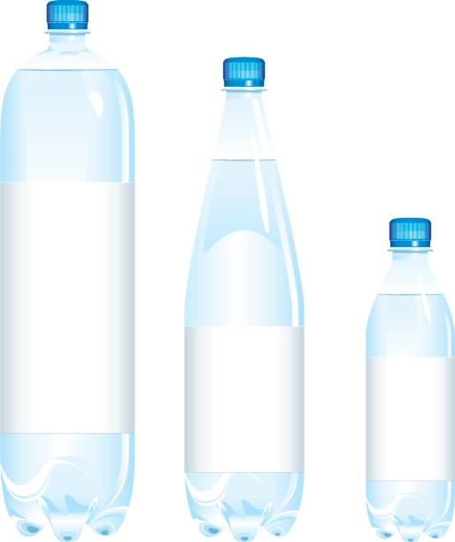 Bottles of water various sizes  volume fluid capacity stock illustrations