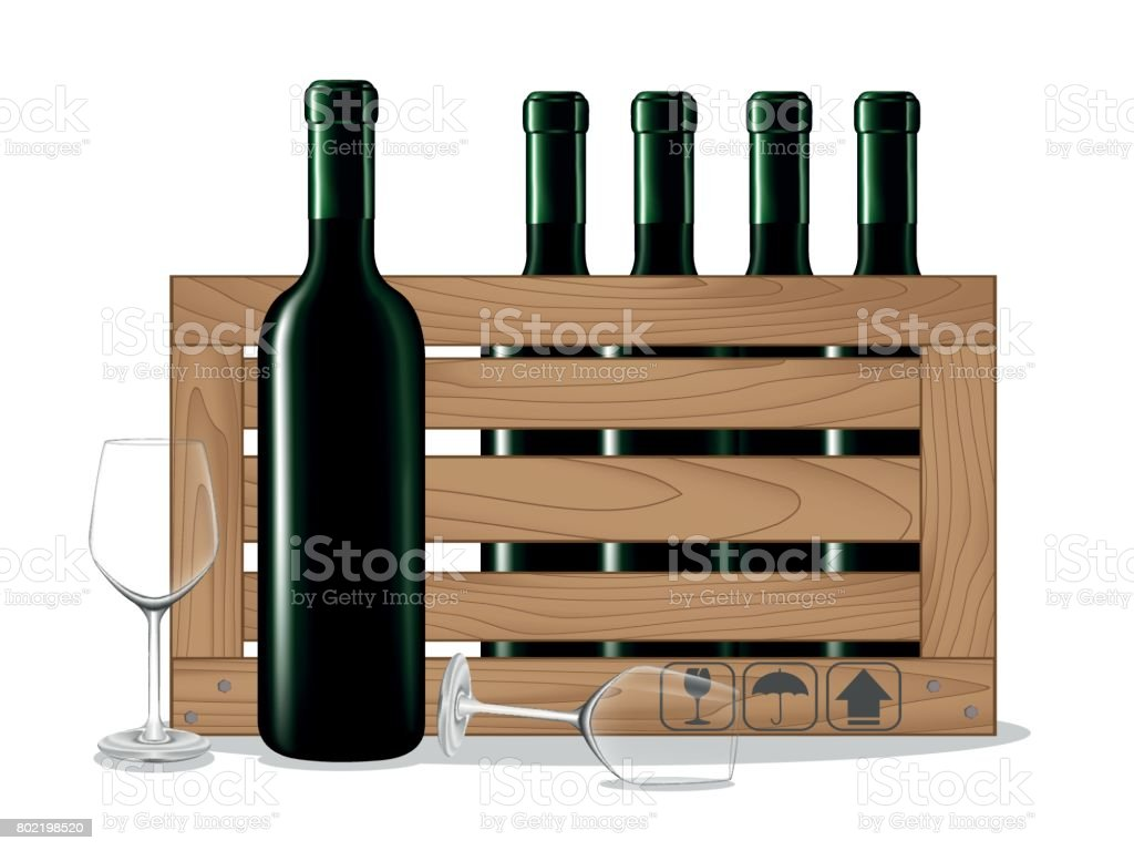 Bottles of wine in wooden box and glass wine vector art illustration