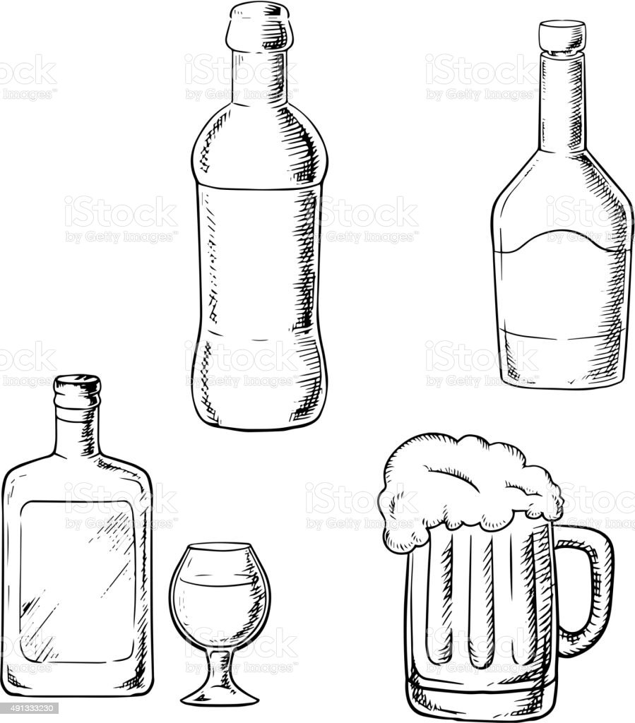 One Line Art Beer : Bottles of wine liquor whiskey and beer stock vector art