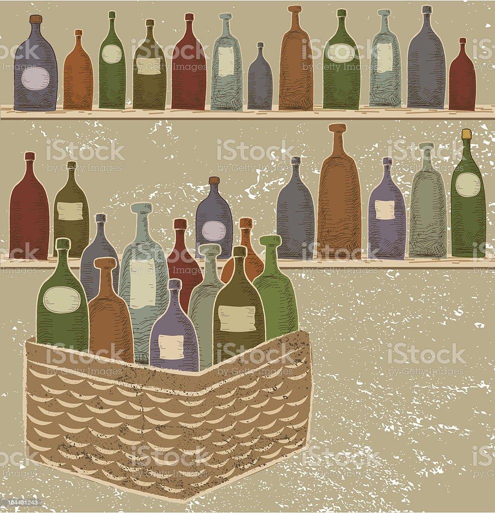 Bottles of Wine On Shelves and in Basket royalty-free stock vector art