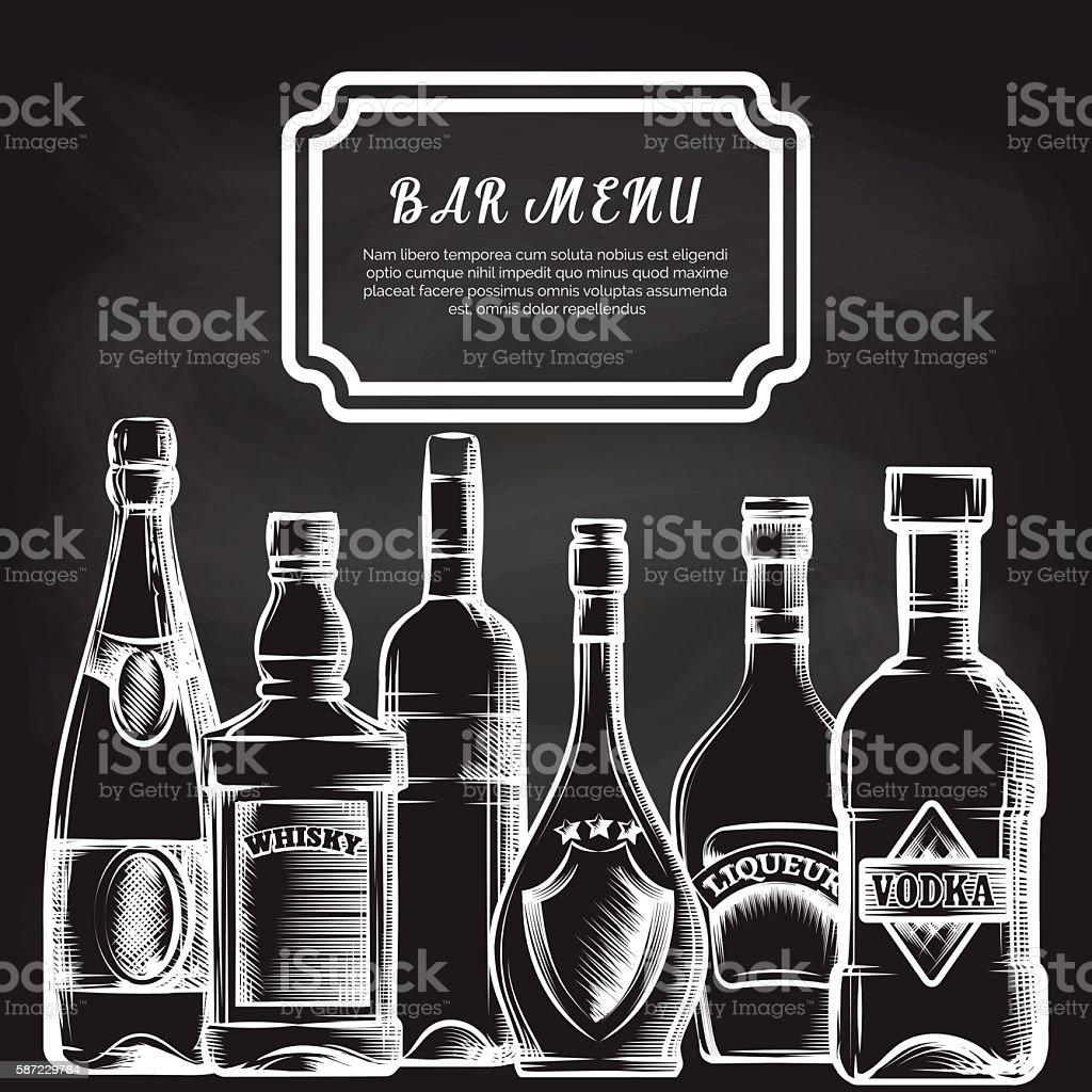Bottles on chalkboard bar menu background vector art illustration