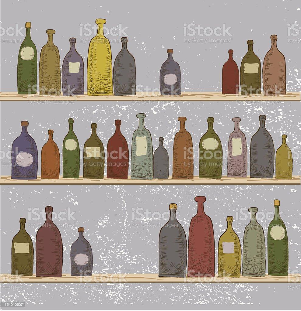 Bottles On Shelves royalty-free stock vector art