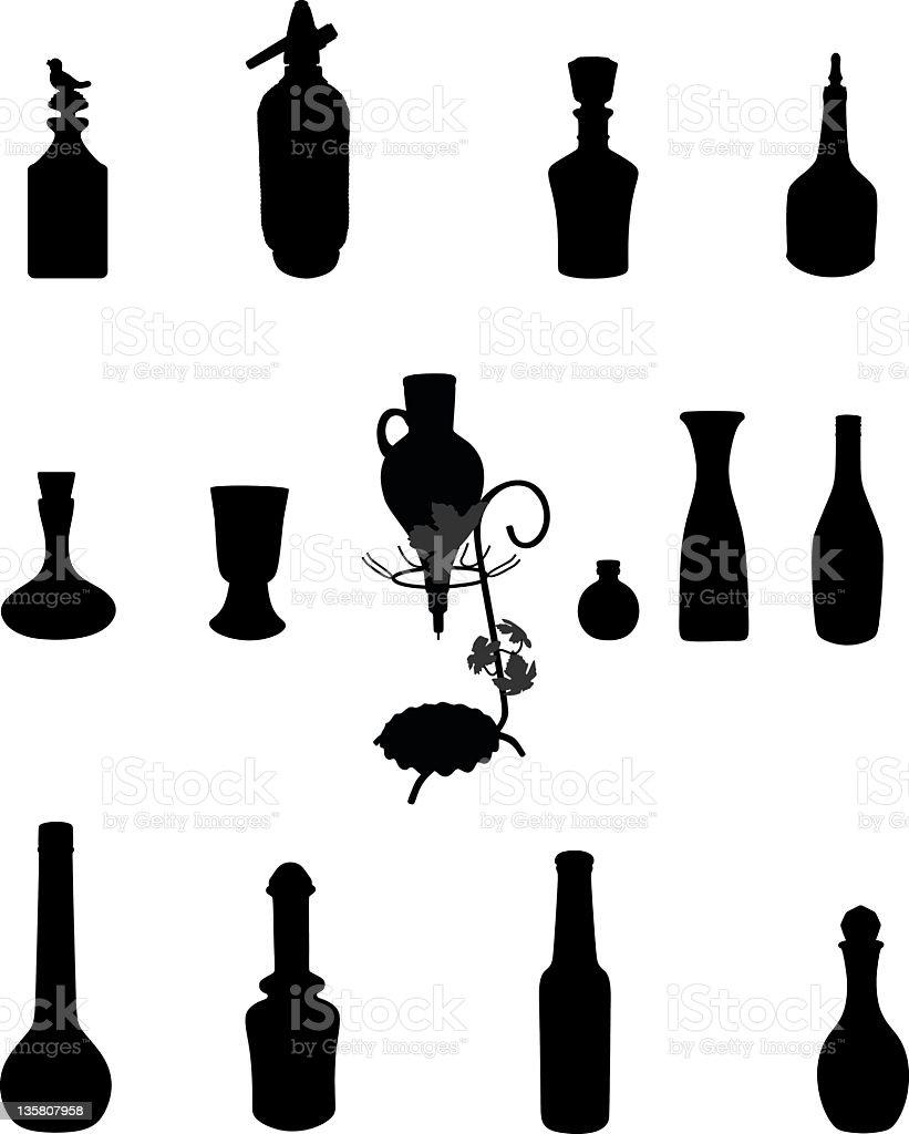 Bottles Silhouettes royalty-free stock vector art