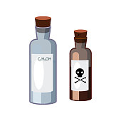 Bottles with hazardous liquids