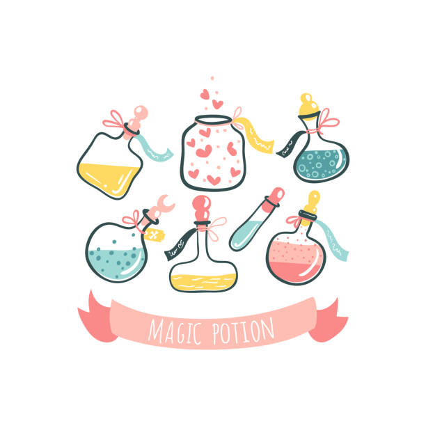 Bottles with magic potions. Poison and love potion. Cartoon hand-drawn illustration in cute scandinavian style. Pastel colors isolated on white background Bottles with magic potions. Poison and love potion. Cartoon hand-drawn illustration in cute scandinavian style. Pastel colors isolated on white background. love potion stock illustrations