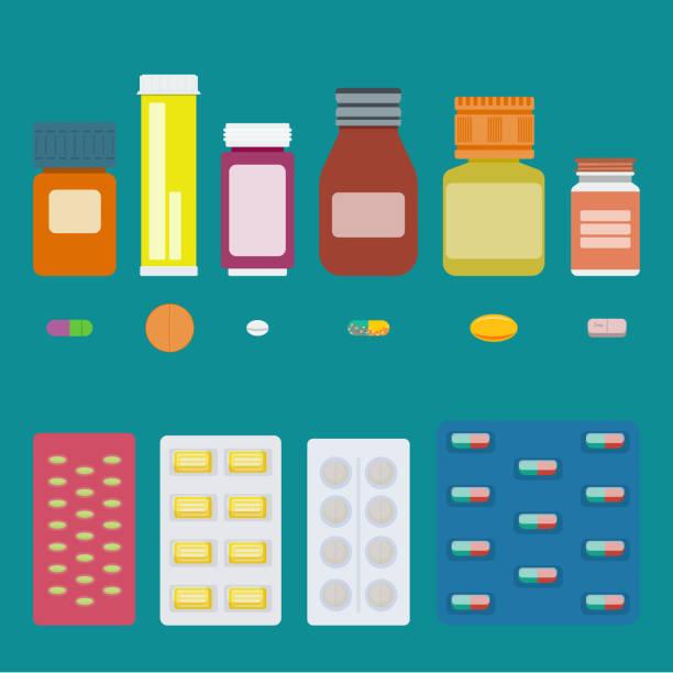 illustrations, cliparts, dessins animés et icônes de bouteilles avec la médecine. - pastille