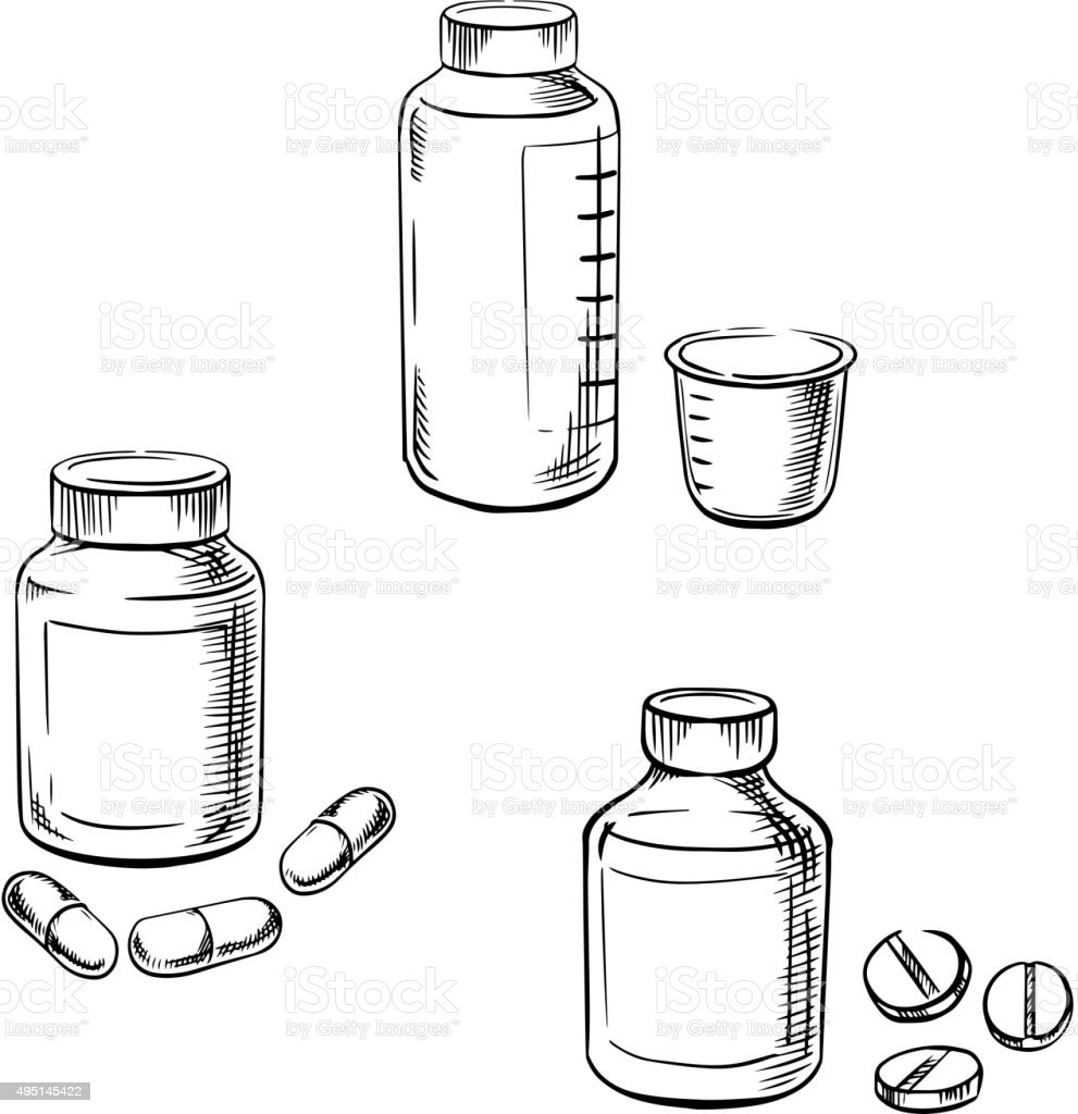 Bottles with pills, capsules and cough syrup vector art illustration