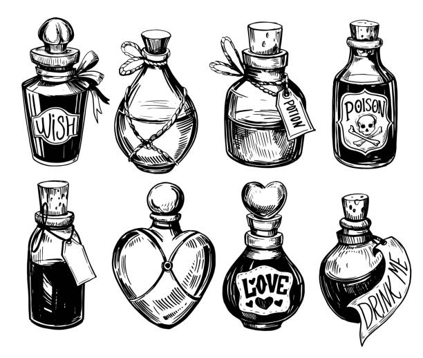 Bottles with potions. Poison and love potion. Hand drawn illustration converted to vector. Bottles with potions. Poison and love potion. Hand drawn illustration converted to vector. potion stock illustrations