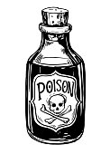 Bottles with potions. Poison. Hand drawn illustration converted to vector.