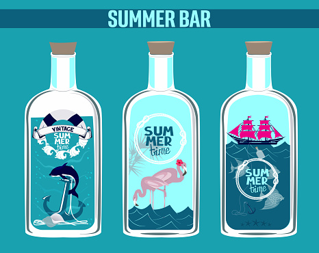 Bottles with summer nautical compositions inside. Vector illustration