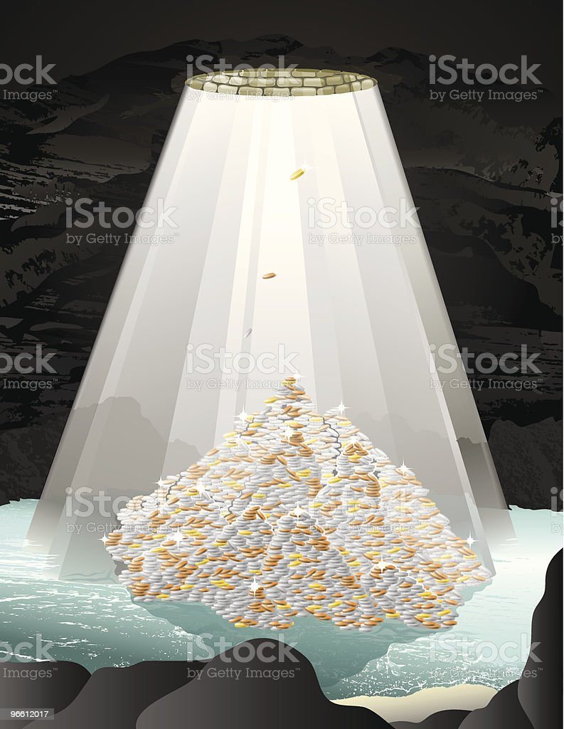 Bottom of a wishing well - Royalty-free At The Bottom Of stock vector