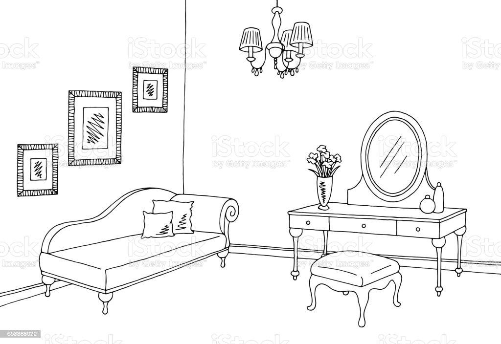 Boudoir room graphic black white interior sketch illustration vector vector art illustration