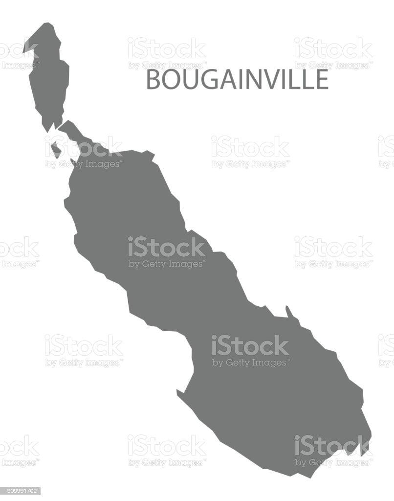 Papua Yeni Gine gri illüstrasyon siluet şekil Bougainville Haritası vektör sanat illüstrasyonu