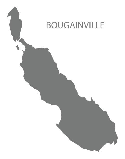 Mapa de Bougainville de Papua Nueva Guinea gris ilustración silueta forma - ilustración de arte vectorial