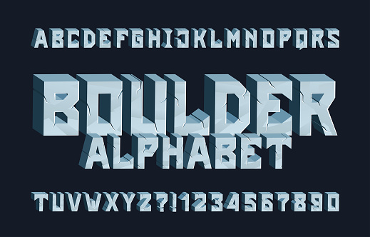 Boulder alphabet font. 3D Cracked letters and numbers.