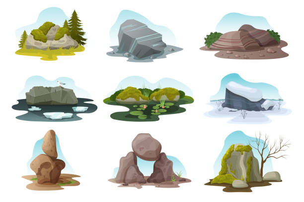 Boulder and rock stone isolated vector illustration set, cartoon Boulder and rock stone isolated vector illustration set. Cartoon different pile of multicolored texture boulders with moss, grass and treees in all nature seasons, rocky natural landscape with stones moss stock illustrations