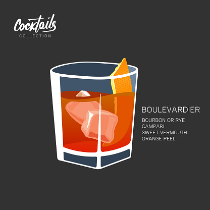 Boulevardier cocktail recipe. Classic drink with bourbon, Campari and vermouth. Vector illustration on black background.