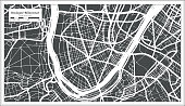 Boulogne-Billancourt France City Map in Retro Style. Outline Map.