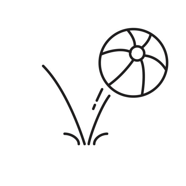 bounce ball icon, line sign vector illustration eps10. vector art illustration