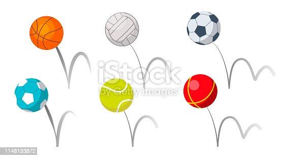 Bounce bolas esporte jogando equipamento conjunto vetor
