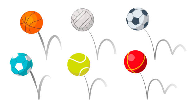 Bounce Balls Sport Playing Equipment Set Vector Bounce Balls Sport Playing Equipment Set Vector. Basketball And Soccer Or Football, Volleyball And Tennis Game Accessories Bounce With Trajectory Grey Line. Colorful Flat Cartoon Illustration sphere stock illustrations