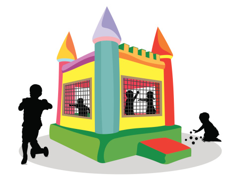 Bounce House and Children Silhouette