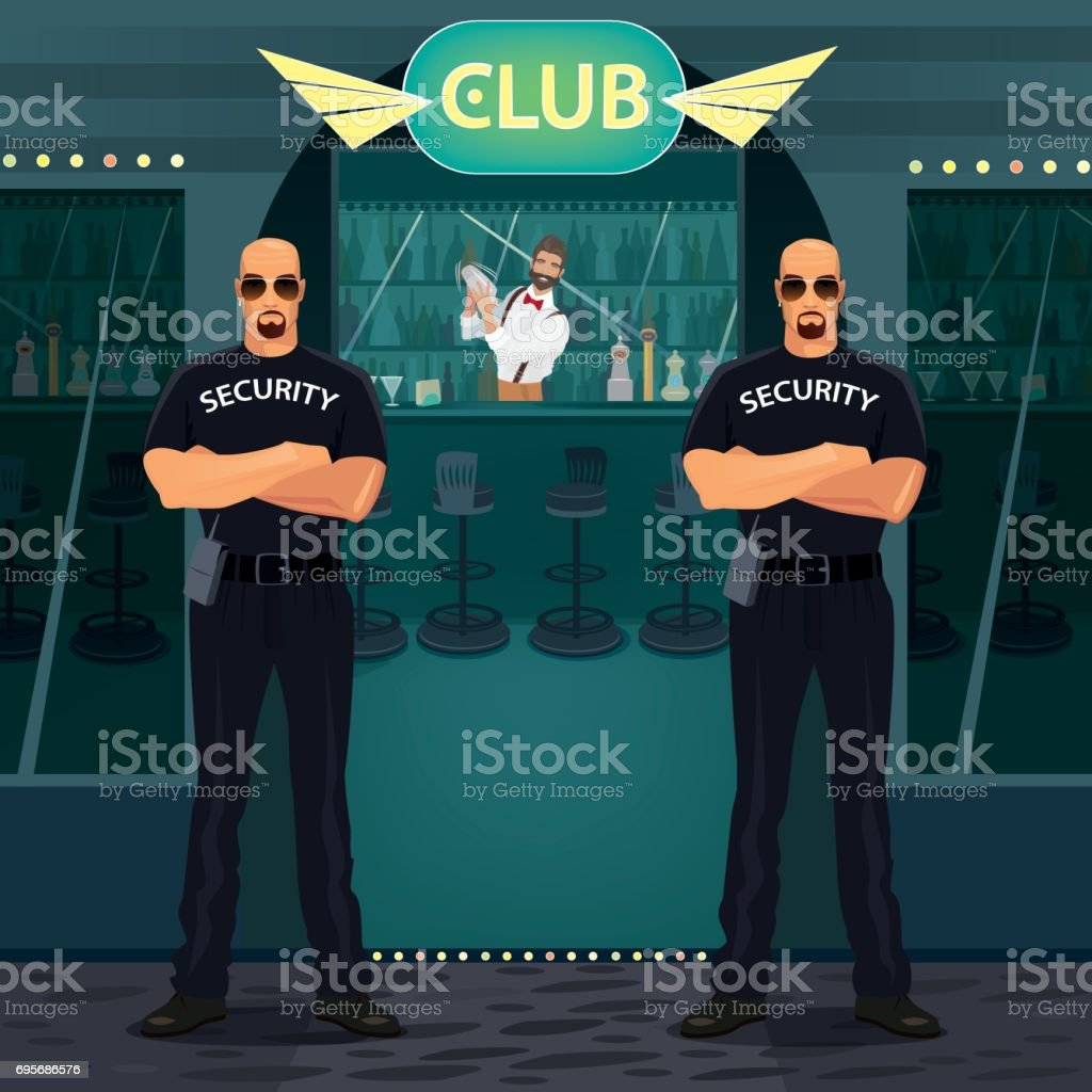 Bouncers standing near entrance to the night club vector art illustration