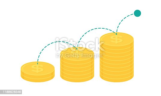 Bouncing ball on stack of gold dollar coins. Business growth concept. Flat design vector illustration.