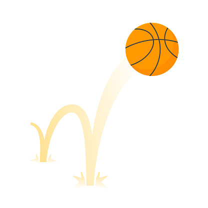 Bouncing basketball game ball flat style design vector illustration icon sign isolated on white background. Inflatable round basket game symbol jumps on the ground.