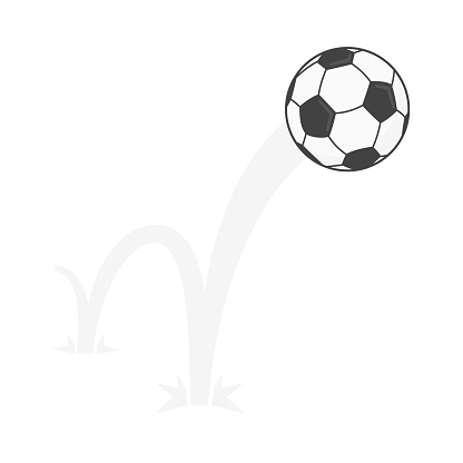 Bouncing soccer ball flat style design vector illustration icon sign isolated on white background. Inflatable round football game symbol jumps on the ground.