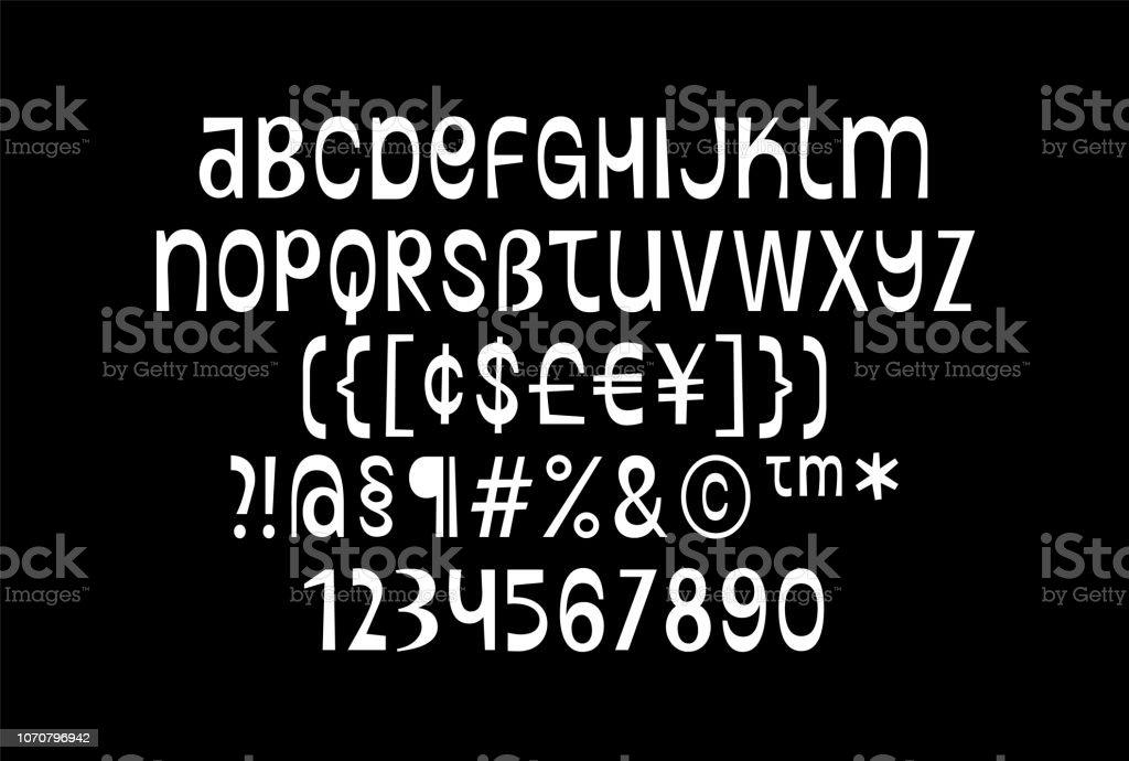Que despide alfabeto inglés básico vibrante y dinámica, bohemio fuente, tipografía Latina de contraste con números, símbolos, ideal para estampados, prendas de vestir, encabezados, álbumes de música, anuncio, fresco y moderno - ilustración de arte vectorial