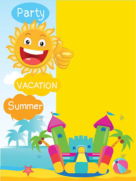 Bouncy Castle And Happy Sun. Summer Rest Vector Concept Banner. vector art illustration