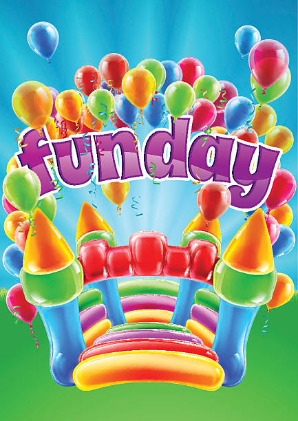 Bouncy Castle Funday Design vector art illustration