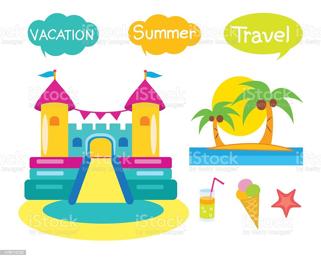 Bouncy Castle Set. Cartoon Illustrations On A White Background. vector art illustration