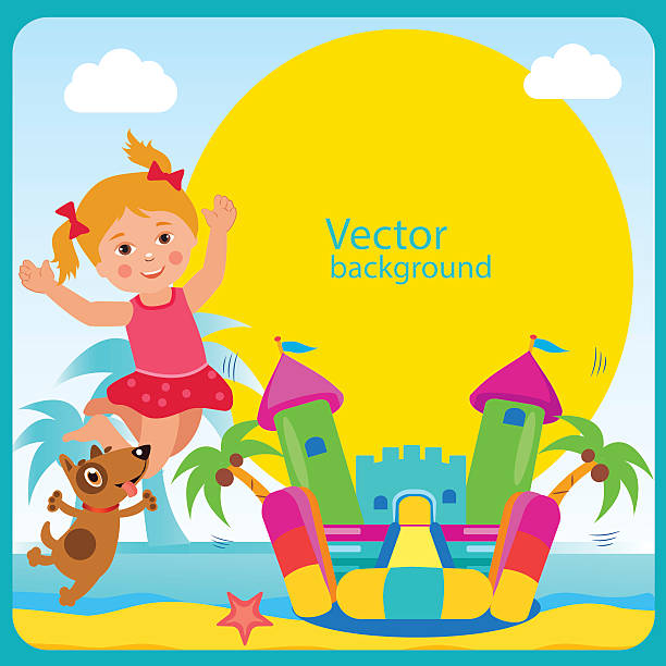 Bouncy Castle. Summer Rest. Cheerful Girl And Her Dog. vector art illustration