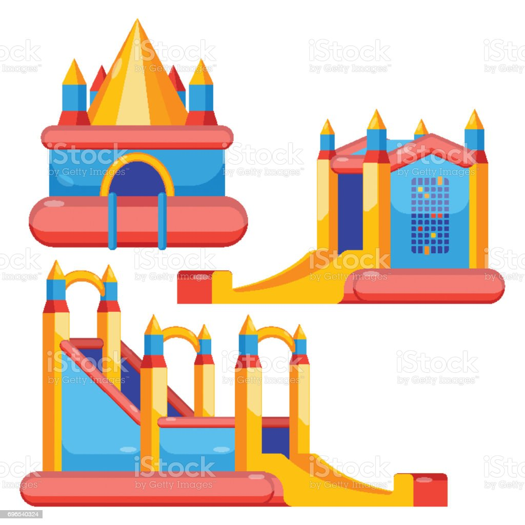 Bouncy castles for kids colorful set isolated on white vector art illustration