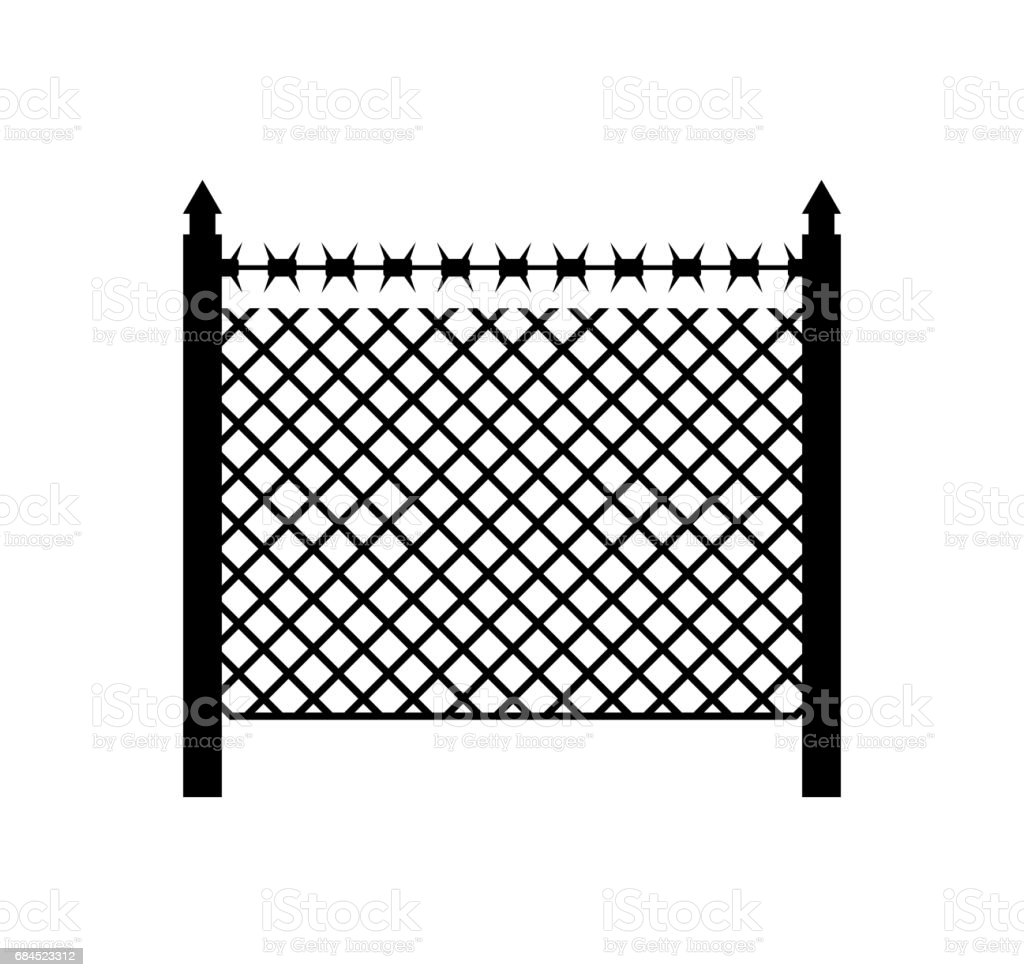 Boundary Fence With Barbed Wire Border Protection Protections Stock ...