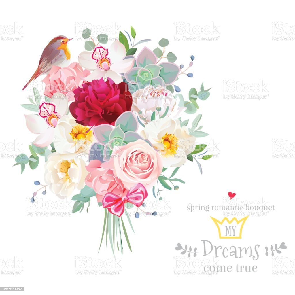 1cfa6aa890d8c Bouquet arranged from flowers and robin bird vector design set -  Illustration .