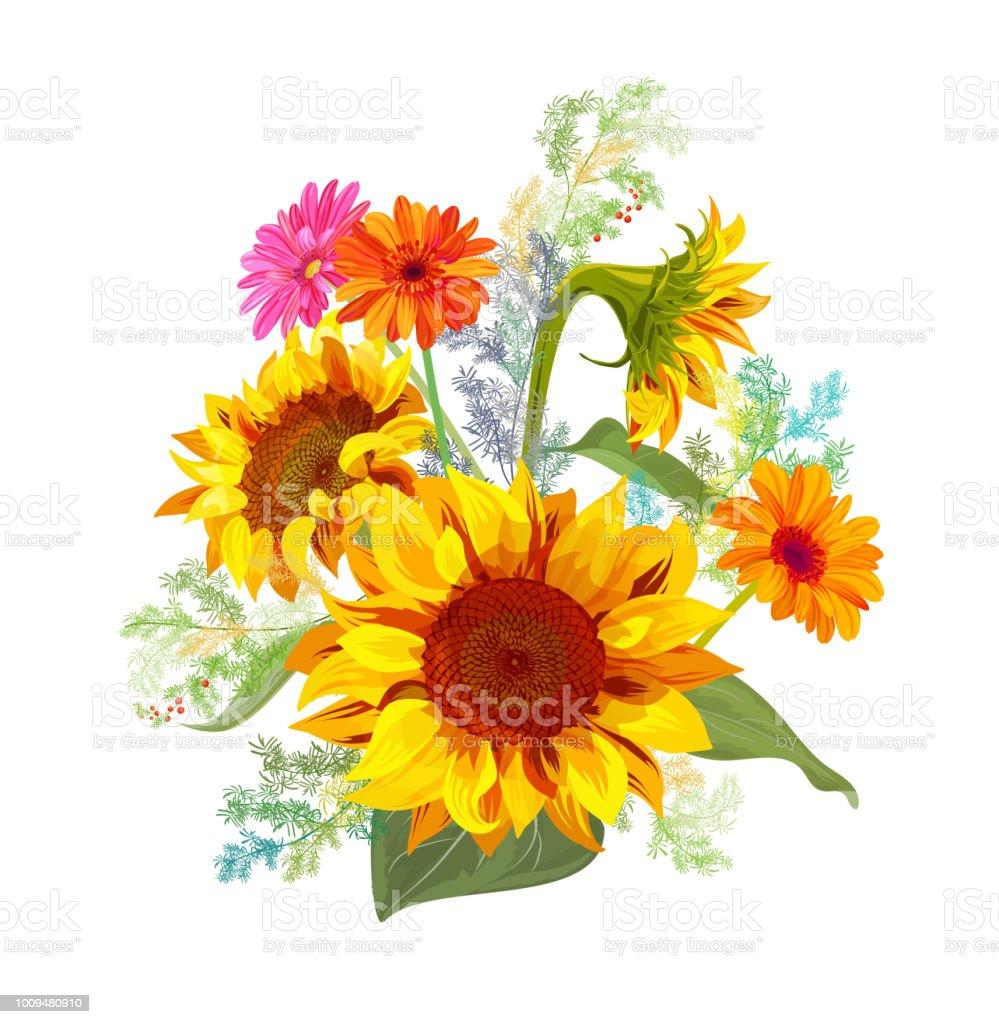Vetores De Flores Do Ramalhete Outono Amarelo Girassol Flor Da