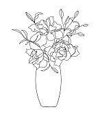 Bouquet flowers in vase black lines isolated on white background. - Vector illustration